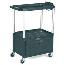 Media Master AV Cart with 2-Shelf in Black