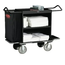 High-Capacity Housekeeping Cart with 3 Shelves in Black