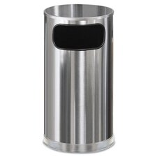 Round European Metallic Stainless Steel Side-Opening Receptacle