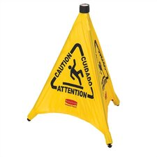 "Pop-Up Safety Cone with Multi-Lingual ""Caution"" Sign"