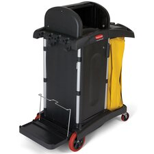 High-Security Healthcare Cleaning Cart in Black