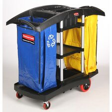 Bi-Bag Waste-Collection Cleaning Cart with 3 Shelves in Black