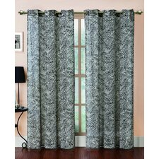 Georgette Zebra Printed Grommet Curtain Single Panel