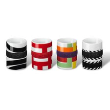 4 Piece Espresso Ring Mug Set