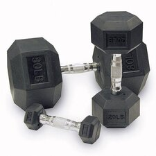Rubber Coated Hex Dumbbells (Set of 2)