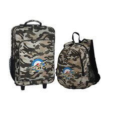2 Piece Camo Airplane Kids Luggage and Backpack Set