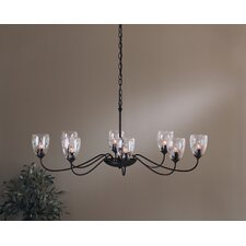 <strong>Hubbardton Forge</strong> 8 Light Chandelier with Water Glass Shade