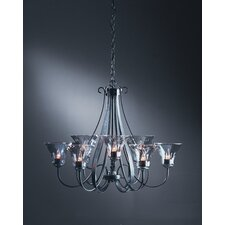 <strong>Hubbardton Forge</strong> 9 Light Chandelier with Water Glass Shade