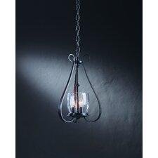<strong>Hubbardton Forge</strong> 3 Light Chandelier with Water Glass Shade