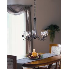 <strong>Hubbardton Forge</strong> 5 Light Trellis Chandelier with Water Glass Shade