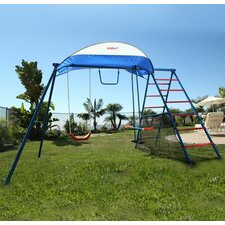Challenge 100 Metal Swing Set with Ladder Climber and UV Protective Sunshade
