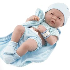 """La Newborn - 14"""" Real Boy Vinyl Doll with Blue Outfit"""