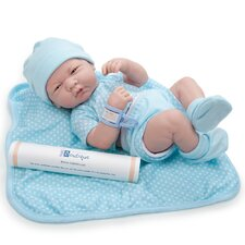 "La Newborn - 14"" Real Boy Vinyl Doll with Blue Outfit"