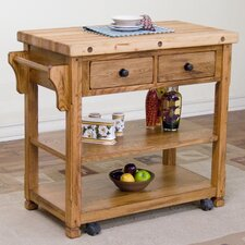 <strong>Sunny Designs</strong> Sedona Kitchen Cart with Butcher Block Top