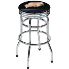 "Chevrolet Bowtie 30.5"" Backless Chrome Swivel Barstool"