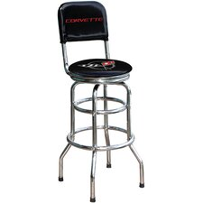 "Chevrolet Corvette C5 30.5"" Chrome Swivel Barstool"