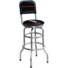 "Chevrolet Camaro Chrome 30.5"" Swivel Barstool"