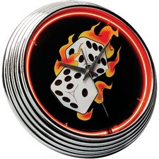 "Flames 14.75"" Dice Neon Wall Clock"