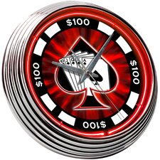 "<strong>On The Edge Marketing</strong> Poker Chip 14.75"" Neon Wall Clock"