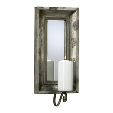 Glass and Wood Abelle Candle Mirror Wall Sconce