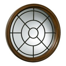 Round Grid Mirror in Pecan