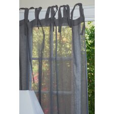 Linen Voile Tie Top Rod Pocket Curtain Single Panel