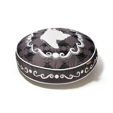 Victorian Cameo Round Dog Bed in Ivory Black / White