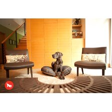 Signature Urban Denim Round Dog Bed in Medieval Blue / Mandarin