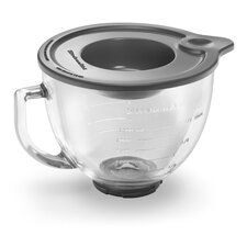 5 Qt. Glass Bowl with Measurement Markings, Pour Spout & Lid