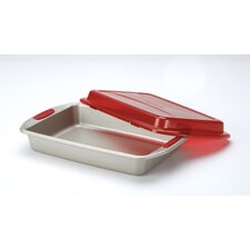 Gourmet Bakeware Covered Cake Pan with Silicone Grips
