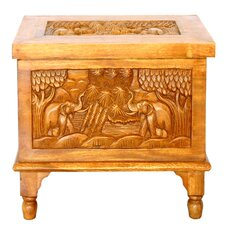 Tropical Acacia Royal Elephant Design Raised Wood Storage Chest