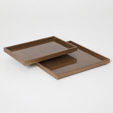 Woodgrain Rectangle Plateau Tray