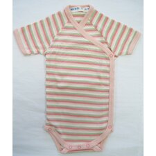 <strong>Under the Nile</strong> Twenty-Four Seven Short Sleeve Side Snap Babybody Baby Clothing in Pink Stripes