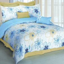 <strong>Luxury Home</strong> Outline Floral 8 Piece Comforter Set