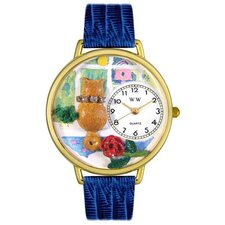 <strong>Whimsical Watches</strong> Unisex Ariston Cat Royal Blue Leather and Goldtone Watch in Gold