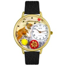 <strong>Whimsical Watches</strong> Unisex Collie Black Skin Leather and Goldtone Watch in Gold