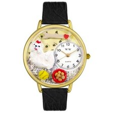 Unisex Maltese Black Skin Leather and Goldtone Watch in Gold