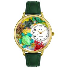 Unisex Turtles Hunter Green Leather and Goldtone Watch in Gold