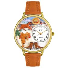 <strong>Whimsical Watches</strong> Unisex Ranch Tan Leather and Goldtone Watch in Gold