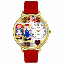 Unisex Raggedy Ann and Andy Navy Blue Leather and Goldtone Watch in Gold