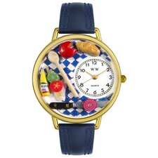 Unisex Gourmet Navy Blue Leather and Goldtone Watch in Gold