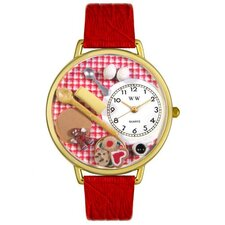 Unisex Baking Red Leather and Goldtone Watch in Gold