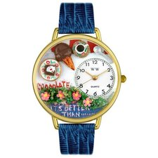 Unisex Chocolate Lover Royal Blue Leather and Goldtone Watch in Gold
