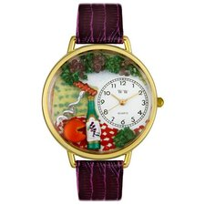 Unisex Wine and Cheese Purple Leather and Goldtone Watch in Gold