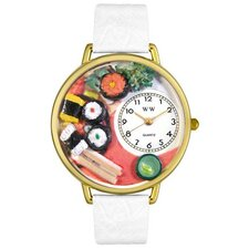 Unisex Sushi White Leather and Goldtone Watch in Gold
