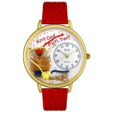 Unisex Knitting Red Leather and Goldtone Watch in Gold
