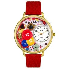 <strong>Whimsical Watches</strong> Unisex I Love Buttons Red Leather and Goldtone Watch in Gold
