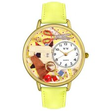 <strong>Whimsical Watches</strong> Unisex Sewing Yellow Leather and Goldtone Watch in Gold