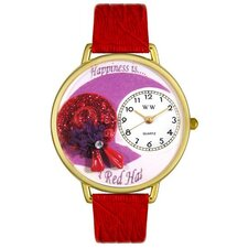 Unisex Red Hat Red Leather and Goldtone Watch in Gold