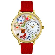 Unisex Preschool Teacher Red Leather and Goldtone Watch in Gold